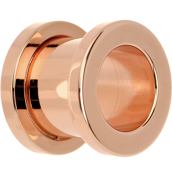 "7/16"" Rose Gold Plated Brilliant Screw Fit Tunnel Plug"