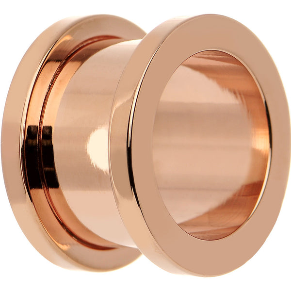1/2 Rose Gold Plated Brilliant Screw Fit Tunnel Plug