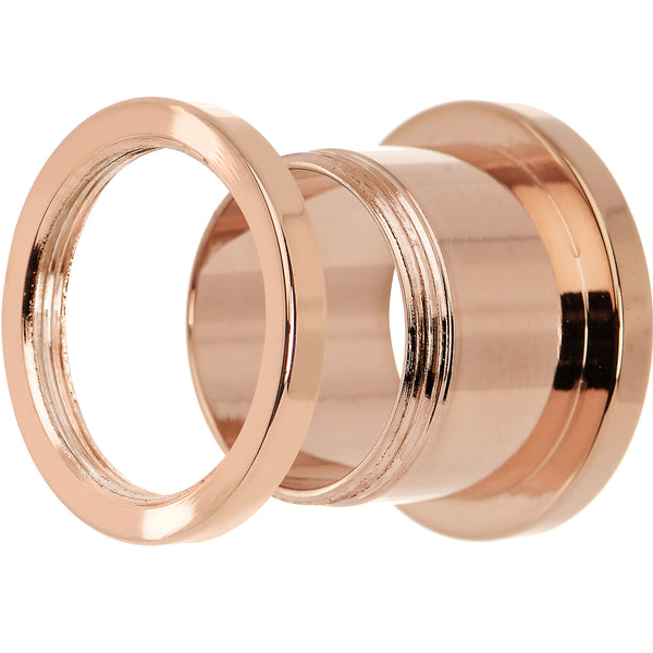 5/8 Rose Gold Plated Brilliant Screw Fit Tunnel Plug