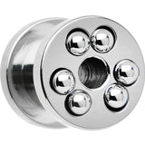 0 Gauge Stainless Steel Stationary Ball Bearing Screw Fit Tunnel Plug