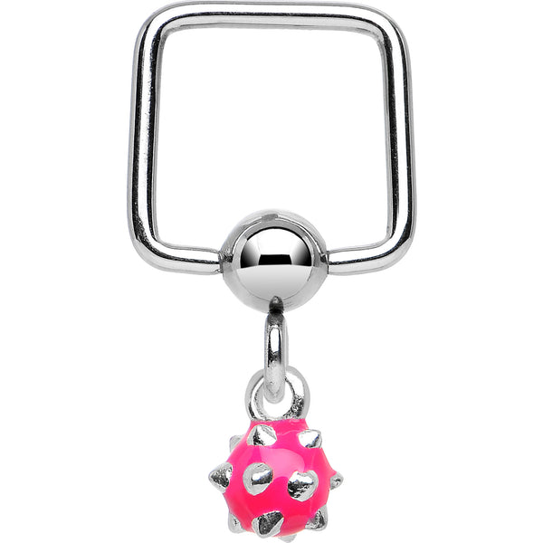 16 Gauge 5/16 Pink Spiked Ball Dangle Square BCR Captive Ring