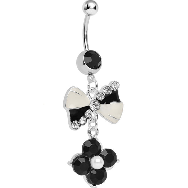 Black and White Bowtie Dangle Belly Ring