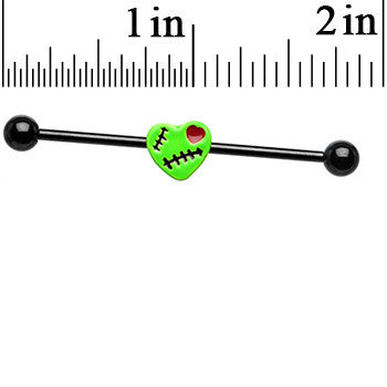 Black Anodized Green Zombie Heart Industrial Barbell 38mm