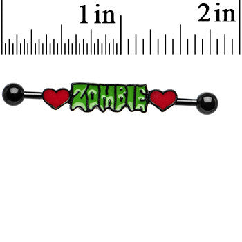 Black Anodized Zombie Love Hearts Industrial Barbell 38mm