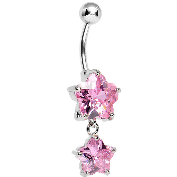 Pink Gem Double Shine Star Drop Belly Ring