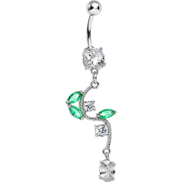 Crystalline Gem Budding Flower Vine Dangle Belly Ring