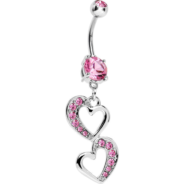 Pink Gem Two Hearts Gleaming Belly Ring
