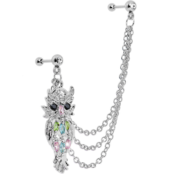 16 Gauge Eccentric Owl Charm Chain Link Cartilage Tragus Barbell Earring