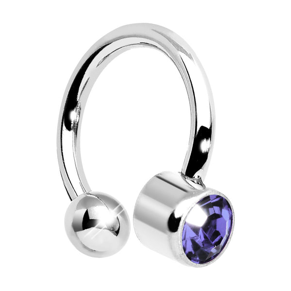 16 Gauge Tanzanite CZ Horseshoe Circular Barbell