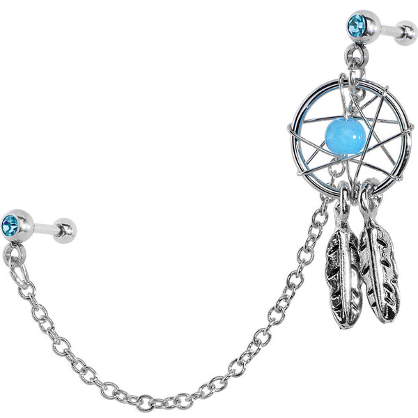 Aqua CZ Dreamcatcher Cartilage Tragus Barbell Earring Chain