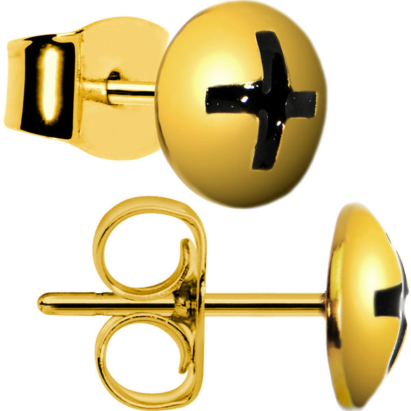 Gold Plated 8mm Phillips Screw Stud Earrings