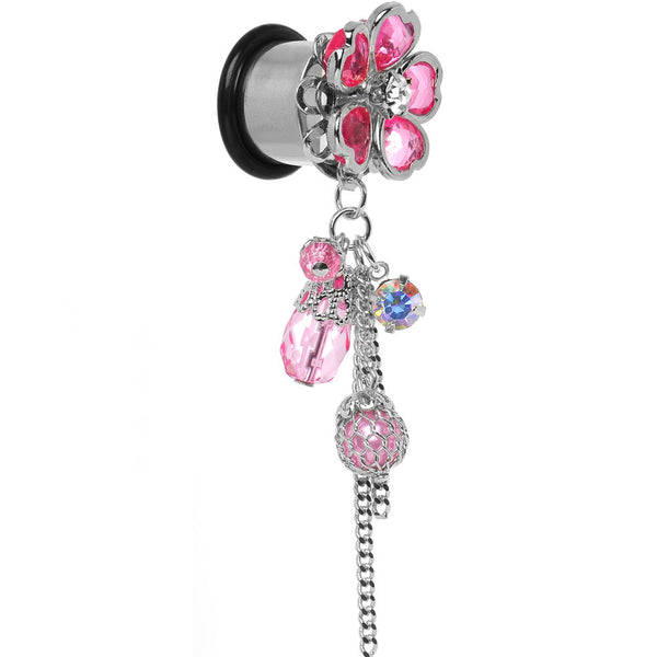 1/2 Steel Pink Gem Glamour Flower Dangle Plug
