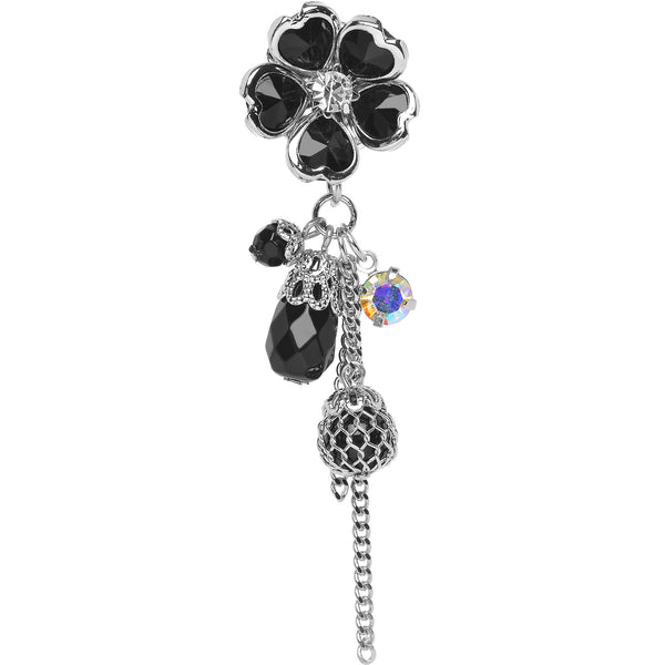 1/2 Steel Black Gem Glamour Flower Dangle Plug
