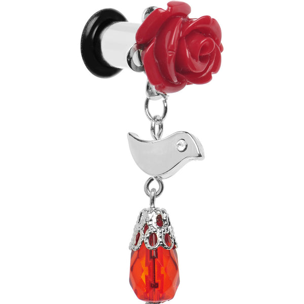 2 Gauge Steel Red Rose Songbird Dangle Plug