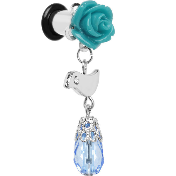 2 Gauge Steel Aqua Rose Flower Songbird Dangle Plug