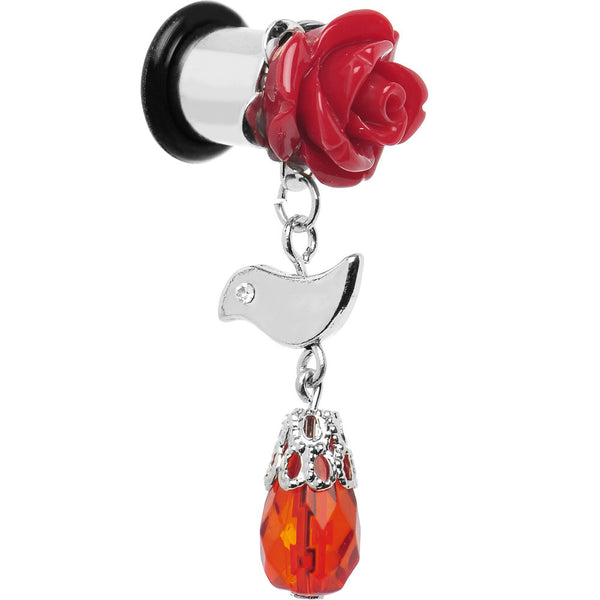 0 Gauge Steel Red Rose Flower Songbird Dangle Plug