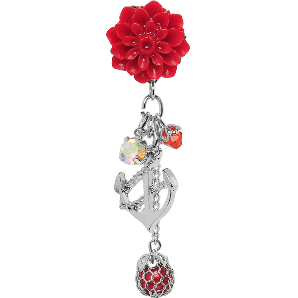 4 Gauge Red Flower Nautical Anchor Dangle Plug