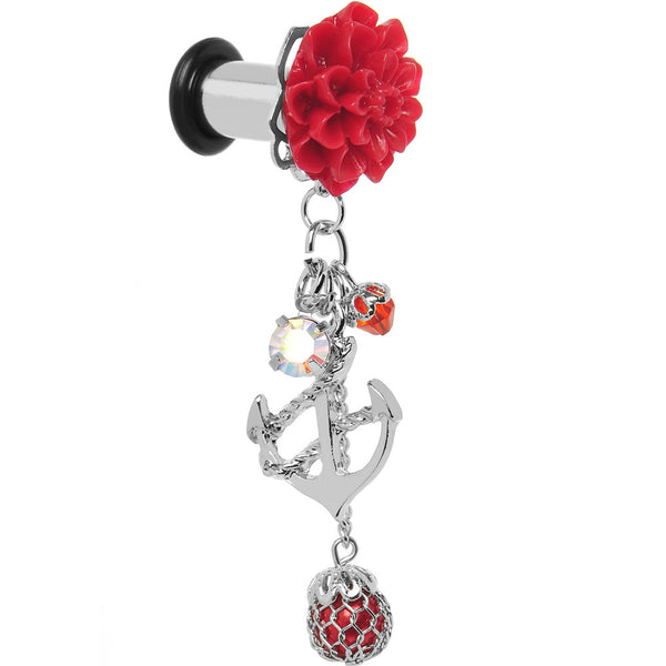 2 Gauge Red Flower Nautical Anchor Dangle Plug