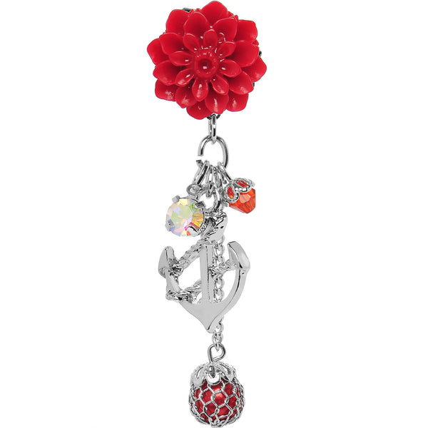 0 Gauge Red Flower Nautical Anchor Dangle Plug