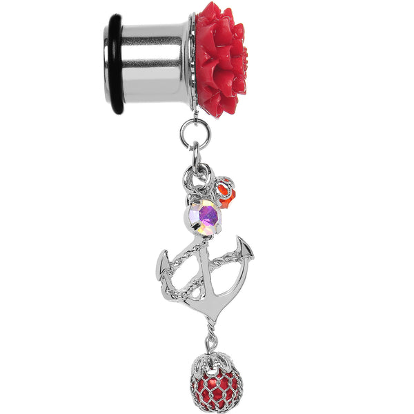 00 Gauge Red Flower Nautical Anchor Dangle Plug
