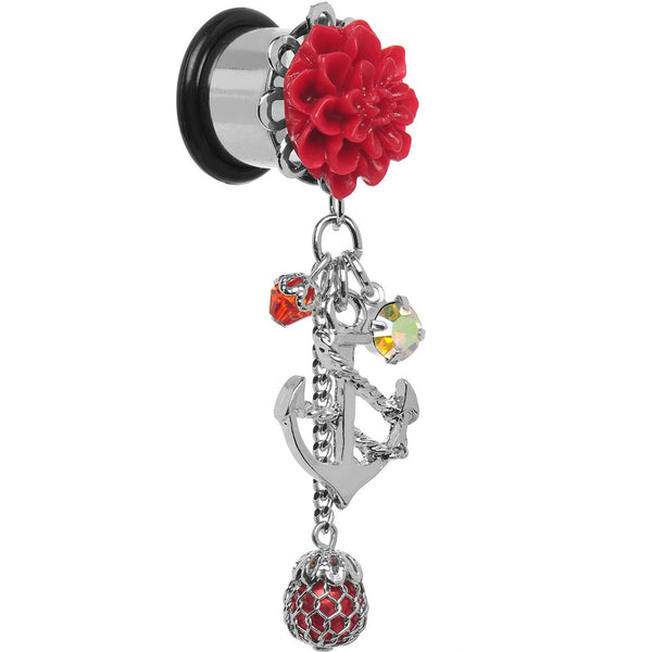 1/2 Red Flower Nautical Anchor Dangle Plug