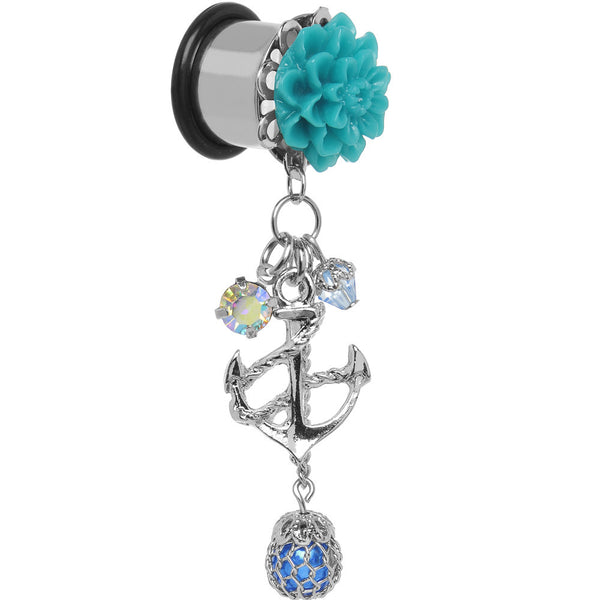 "1/2"" Aqua Flower Nautical Anchor Dangle Plug"