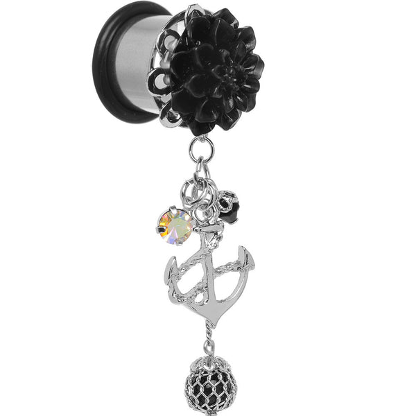 "1/2"" Black Flower Nautical Anchor Dangle Plug"