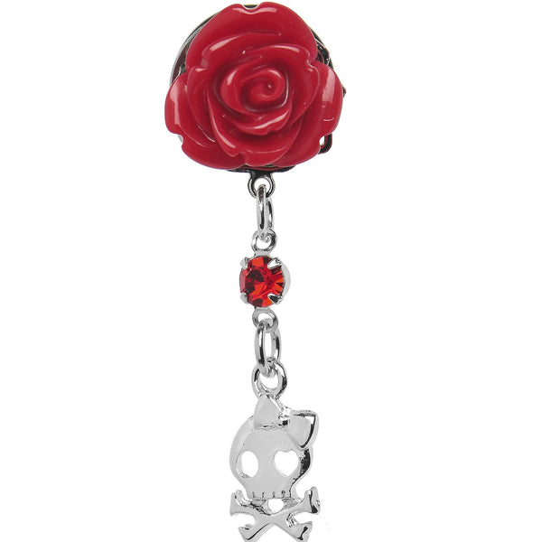 Red Rose Flower Skull Crossbones Dangle Plug Sizes 5mm to 12mm