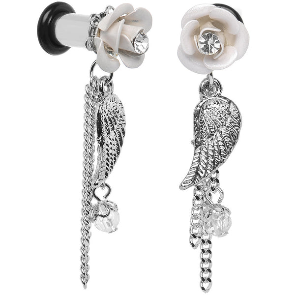 4 Gauge Clear Gem Chain Rose Angels Wing Dangle Plug Set