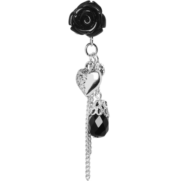 2 Gauge Black Rose Flower Romantic Heart Dangle Plug