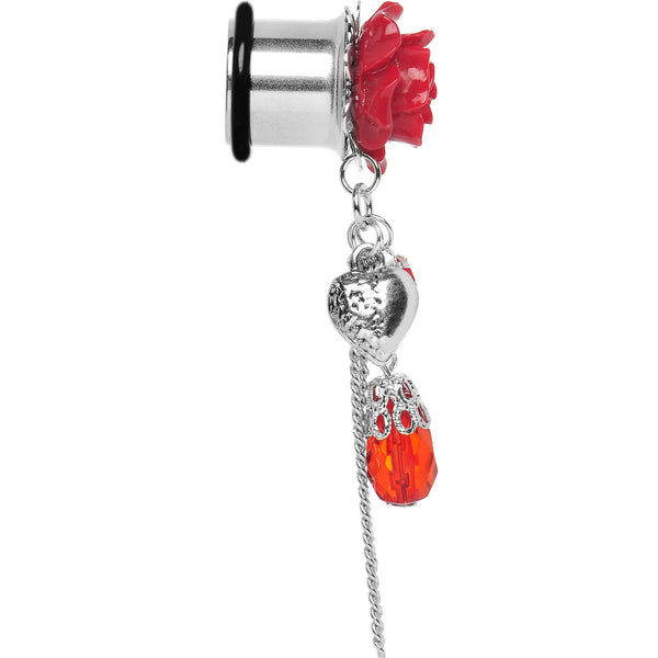 1/2 Red Rose Flower Romantic Heart Dangle Plug