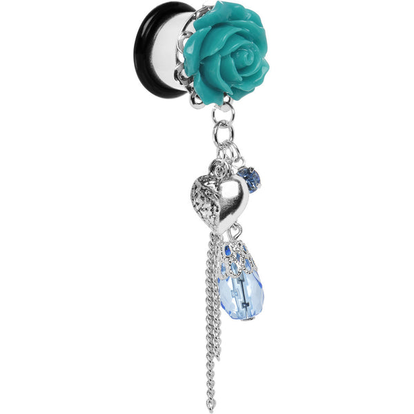 1/2 Aqua Rose Flower Romantic Heart Dangle Plug