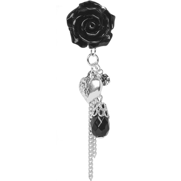 1/2 Black Rose Flower Romantic Heart Dangle Plug