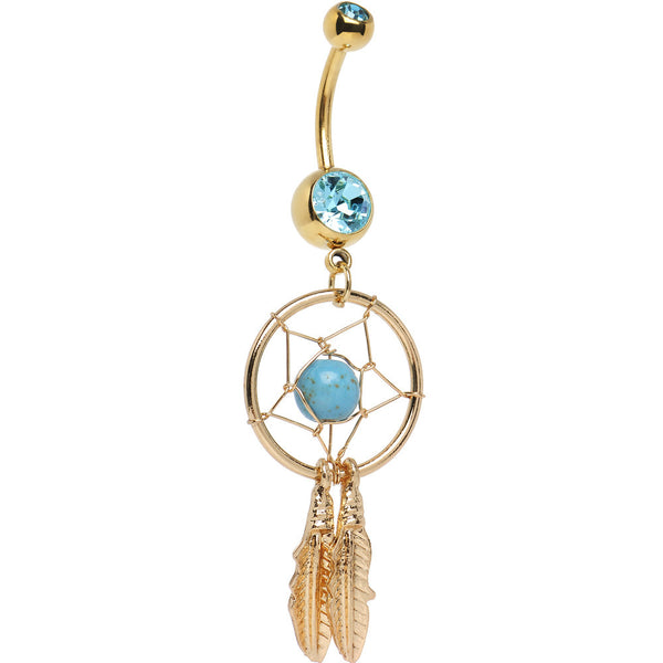 Gold Plated Aqua Gem Dreamcatcher Belly Ring