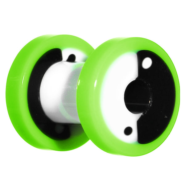 4 Gauge Green Neon Acrylic Modern Yin Yang Screw Fit Tunnel Plug