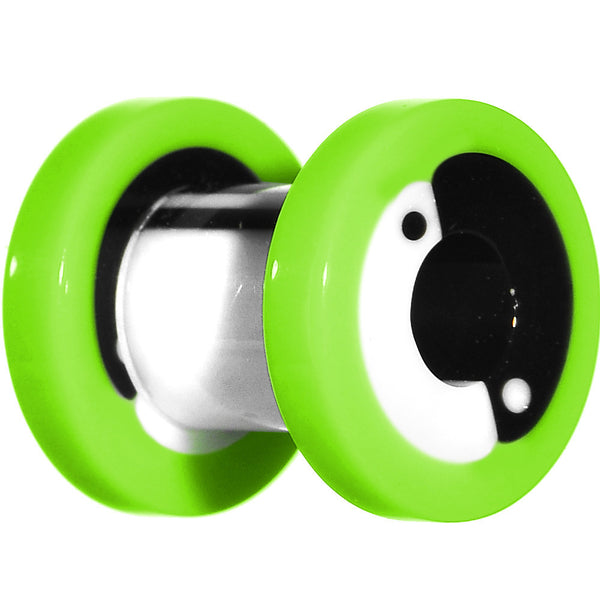 2 Gauge Green Neon Acrylic Modern Yin Yang Screw Fit Tunnel Plug