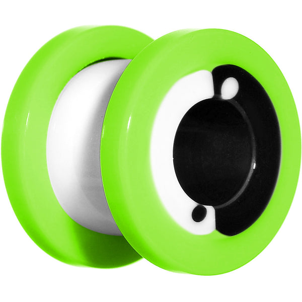 00 Gauge Green Neon Acrylic Modern Yin Yang Screw Fit Tunnel Plug