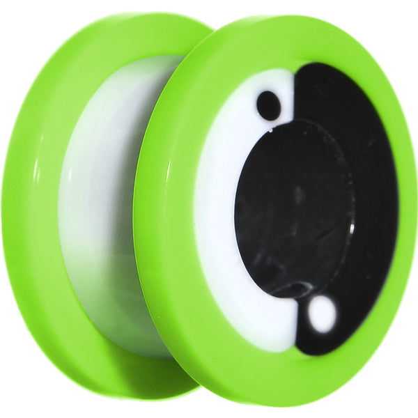 "9/16"" Green Neon Acrylic Modern Yin Yang Screw Fit Tunnel Plug"