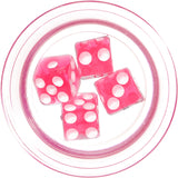 "9/16"" Clear Acrylic Pink Throw the Dice Saddle Plug"