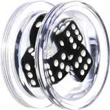 "5/8"" Clear Acrylic Black Throw the Dice Saddle Plug"