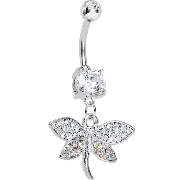 Clear CZ Multi-Color Dragonfly Belly Ring