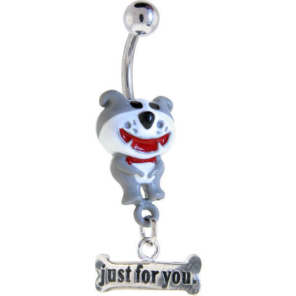 DOG of GLEE 3-D Hand Painted JUST FOR YOU Dangle Belly Ring
