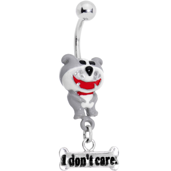 DOG of GLEE 3-D Hand Painted I DON'T CARE Dangle Belly Ring