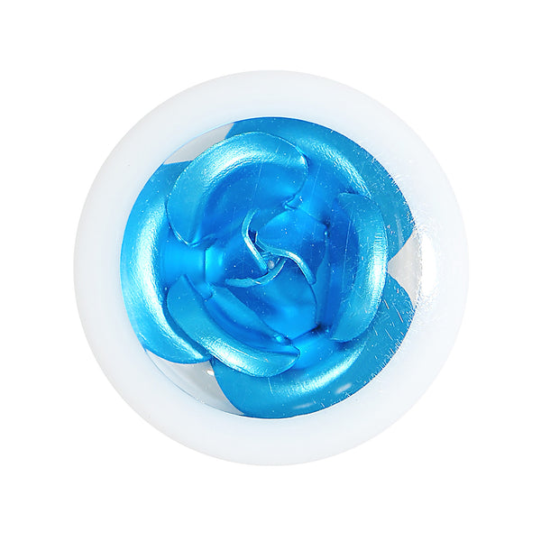 0 Gauge White Acrylic Aqua Metallic Rose Flower Plug