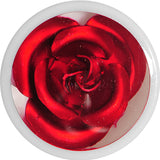1/2 White Acrylic Red Metallic Rose Flower Plug