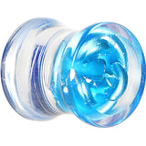 0 Gauge Clear Acrylic Floating Aqua Metallic Rose Flower Plug