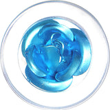 00 Gauge Clear Acrylic Floating Aqua Metallic Rose Flower Plug
