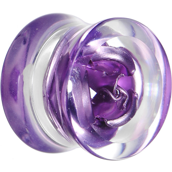 1/2 Clear Acrylic Floating Purple Metallic Rose Flower Plug