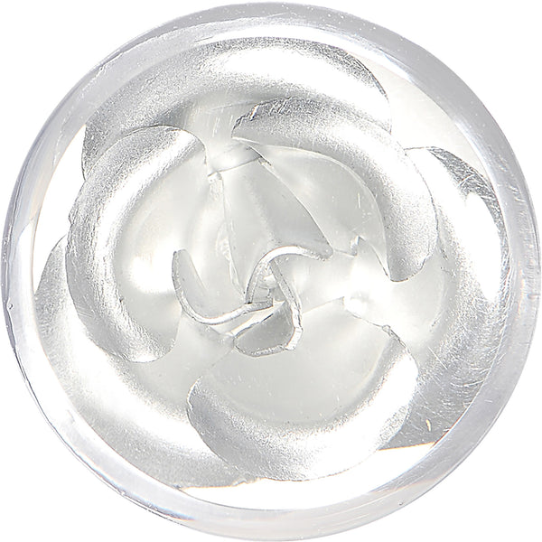 9/16 Clear Acrylic Floating Silver Metallic Rose Flower Plug