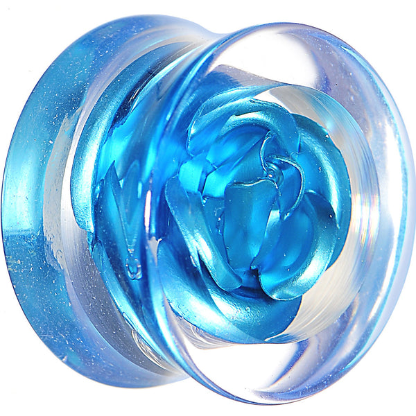 5/8 Clear Acrylic Floating Aqua Metallic Rose Flower Plug